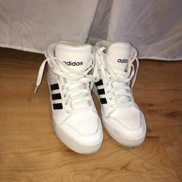 low priced 917df f5b1e adidas Shoes - Adidas White Black Stripe Hi Top Fashion Sneaker
